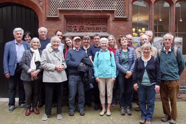 Tour group outside Edward Boardman's office